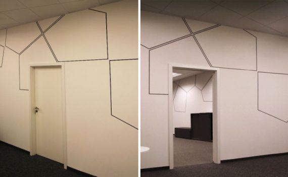 10ee2886d78a Realizácia minimalistickej maľby atypických šesťuholníkov na steny v  priestoroch kancelárií v Pressburg Tower v Bratislave. Páči sa vám takáto  maľba a ...