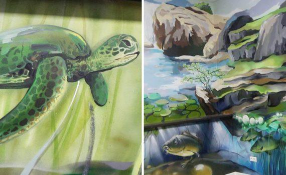 ccd4290f6df0 Celoplošná maľba s prírodným motívom na stene v kancelárii